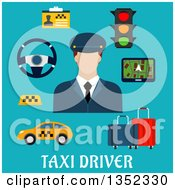 Clipart Of A Flat Design White Male Cab Driver With Items Over Text On Blue Royalty Free Vector Illustration