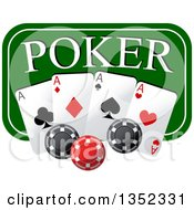 Clipart Of A Green Poker Sign With Chips And Playing Cards Royalty Free Vector Illustration
