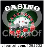 Clipart Of A Casino Roulette Wheel With Poker Chips Playing Cards And Text On Dark Green And Black Royalty Free Vector Illustration