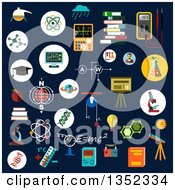 Clipart Of Flat Design Chemistry Physics And Science Icons On Dark Blue Royalty Free Vector Illustration