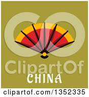 Clipart Of A Flat Design Hand Fan Over China Text On Green Royalty Free Vector Illustration