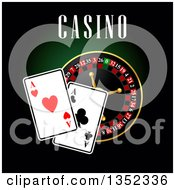 Clipart Of A Casino Roulette Wheel With Playing Cards And Text On Dark Green And Black Royalty Free Vector Illustration