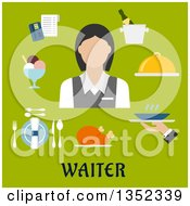 Clipart Of A Flat Design Caucasian Female Waiter Avatar With Items Over Text On Green Royalty Free Vector Illustration by Vector Tradition SM