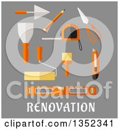 Clipart Of A Flat Design Pencil Roulette And Trowel Spatula Paint Roller And Brush Scissors Utility Knife And Spirit Level Over Text On Gray Royalty Free Vector Illustration
