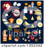 Clipart Of Flat Design Foods On Dark Blue Royalty Free Vector Illustration by Vector Tradition SM