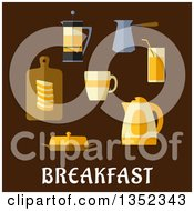 Clipart Of A Flat Design Coffee Tea Juice Butter Sliced Bread And Electric Kettle Over Text On Brown Royalty Free Vector Illustration by Vector Tradition SM