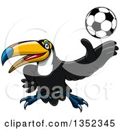 Clipart Of A Cartoon Sporty Toucan Bird Tossing Up A Soccer Ball Royalty Free Vector Illustration by Seamartini Graphics