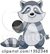 Clipart Of A Cartoon Sporty Raccoon Holding A Bowling Ball Royalty Free Vector Illustration
