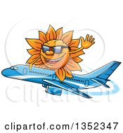 Cartoon Sun Character Wearing Shades Waving And Riding A Commercial Airliner Plane