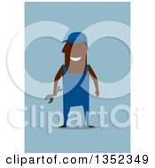 Clipart Of A Flat Design Happy Black Mechanic Holding A Wrench On Blue Royalty Free Vector Illustration
