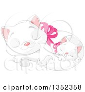 Clipart Of A Cute White Kitten Sleeping With Its Mother Royalty Free Vector Illustration