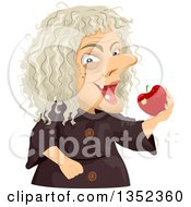 Clipart Of A Scary Old Hag Holding An Apple Royalty Free Vector Illustration