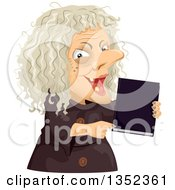 Clipart Of A Scary Old Hag Woman Holding A Spell Book Royalty Free Vector Illustration by BNP Design Studio