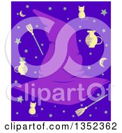 Clipart Of A Purple Witch Hat Fame With Items And Stars On Blue Royalty Free Vector Illustration