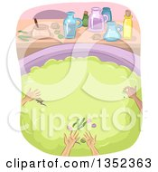 Clipart Of Witches Droping Ingredients Into A Cauldron Royalty Free Vector Illustration