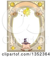 Clipart Of A Witchcraft Frame With A Hat On A Spell Book Royalty Free Vector Illustration by BNP Design Studio