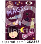 Clipart Of Witchcraft Items Over Purple Royalty Free Vector Illustration by BNP Design Studio