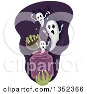 Clipart Of Witch Hands Releasing A Jar Of Ghosts Royalty Free Vector Illustration by BNP Design Studio