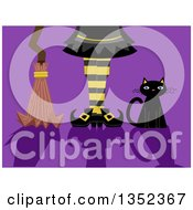 Clipart Of A Black Cat Witch Legs And Broomstick With Shadows On Purple Royalty Free Vector Illustration by BNP Design Studio