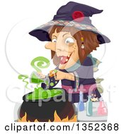 Clipart Of A Witch Making A Potion Royalty Free Vector Illustration by BNP Design Studio