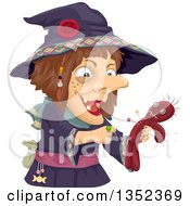 Clipart Of A Witch Stabbing A Voodoo Doll With Needles Royalty Free Vector Illustration by BNP Design Studio
