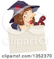 Witch Holding A Voodoo Doll And Pointing Down Over A Blank Sign