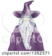 Clipart Of A Gray Old Wizard In Purple Royalty Free Vector Illustration