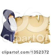 Clipart Of A Senior Male Wizard Pointing And Holding A Parchment Sign Royalty Free Vector Illustration