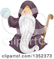 Clipart Of A Male Senior Wizard Holding A Staff And Crystal Ball Royalty Free Vector Illustration