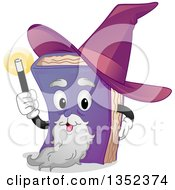 Clipart Of A Wizard Book Character Holding Up A Wand Royalty Free Vector Illustration