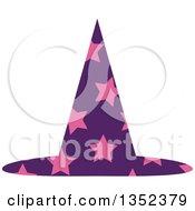 Purple Star Patterned Wizard Hat