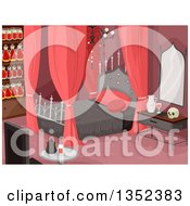 Clipart Of A Vampire Bedroom In Red Tones Stocked With Jars Of Blood Royalty Free Vector Illustration