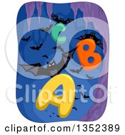 Clipart Of Vampire Bats Flying With Alphabet Letters In A Cave Royalty Free Vector Illustration by BNP Design Studio