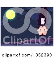 Clipart Of A Vampire Hanging Upside Down Against A Night Sky Full Moon And Bats Royalty Free Vector Illustration by BNP Design Studio