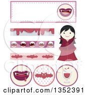 Clipart Of A Vampire Girl And Design Elements Royalty Free Vector Illustration