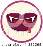Clipart Of A Round Vampiress Mouth And Blood Icon Royalty Free Vector Illustration