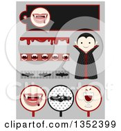 Clipart Of A Vampire Boy And Design Elements On Gray Royalty Free Vector Illustration