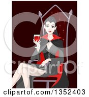 Clipart Of A Vampiress Drinking Blood And Sitting In A Chair Royalty Free Vector Illustration by BNP Design Studio