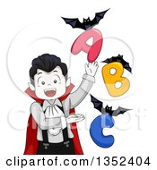 Clipart Of A Vampires Boy Presenting Bats And Alphabet Letters Royalty Free Vector Illustration by BNP Design Studio