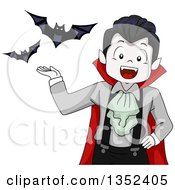Clipart Of A Vampires Boy Presenting Bats Royalty Free Vector Illustration