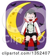 Vampires Boy Sitting On A Crescent Moon Surrounded By Bats