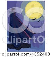 Clipart Of A Male Vampire Standing On A Cliff Under A Full Moon With Bats Royalty Free Vector Illustration