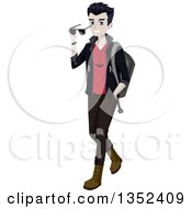 Clipart Of A Teenage Vampire Guy Walking Royalty Free Vector Illustration by BNP Design Studio