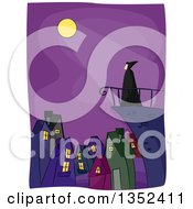 Clipart Of A Vampire On A Terrace Over A City With Moon Light Shining Down Royalty Free Vector Illustration