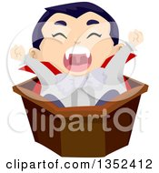 Clipart Of A Vampires Boy Stretching In A Coffin Royalty Free Vector Illustration by BNP Design Studio