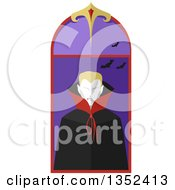 Clipart Of A Blond Vamipire In A Window Royalty Free Vector Illustration by BNP Design Studio