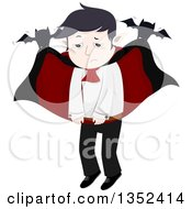Clipart Of A Sad Vampire Being Carried By Bats Royalty Free Vector Illustration by BNP Design Studio