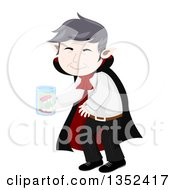 Clipart Of A Senior Vampire Cleaning His False Teeth In A Jar Royalty Free Vector Illustration by BNP Design Studio