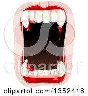 Clipart Of A Vampire Mouth With Blood Dripping From The Fangs Royalty Free Vector Illustration