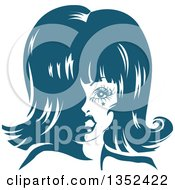 Clipart Of A Drag Queen Striking A Pose In Blue Tones Royalty Free Vector Illustration